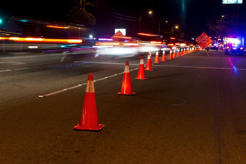 cones on the road